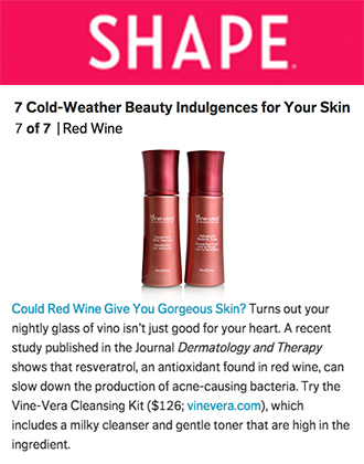 Shape Magazine reviews Vine Vera Cleansing Kit.